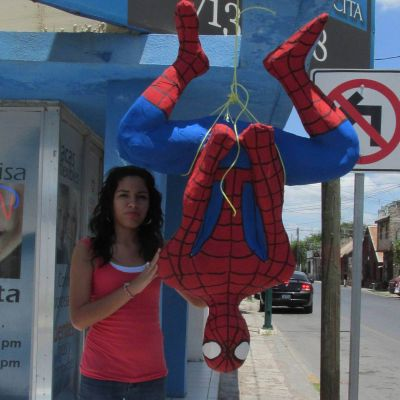 spiderman pinata in paper mache