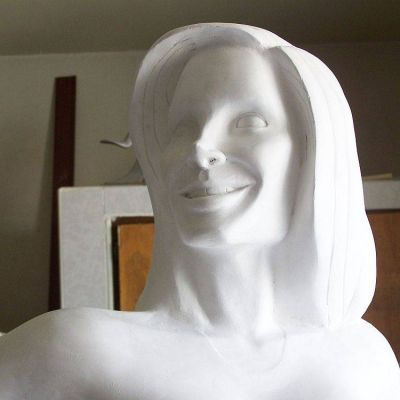 gypsum sculpture of fit woman in cabo